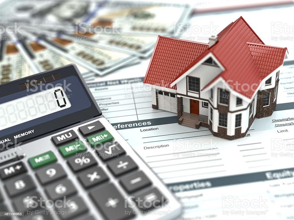 Mortgage calculator. House, noney and document. stock photo