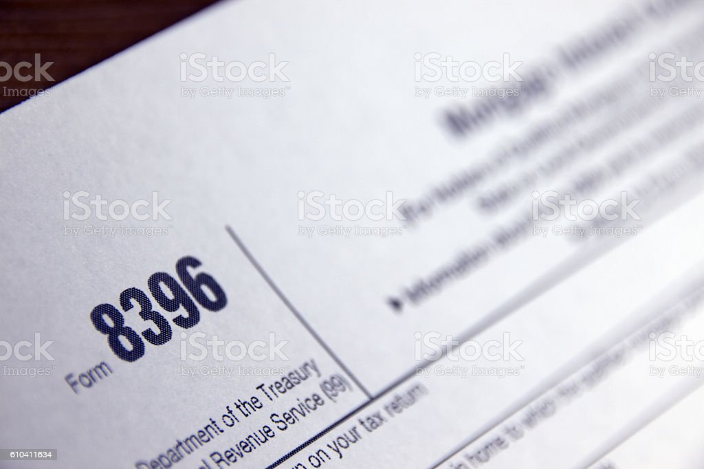 Mortgage Interest Credit Tax Form 8396 stock photo