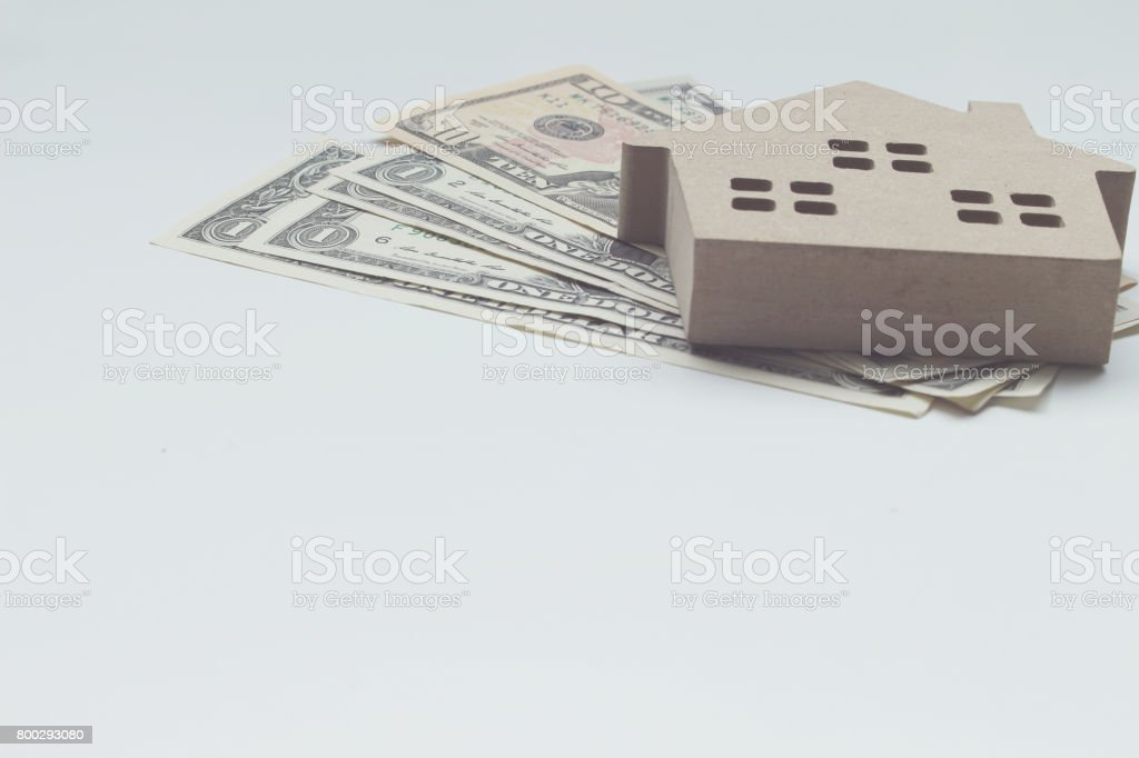 Mortgage load and Dollar money property for concept with copy space stock photo