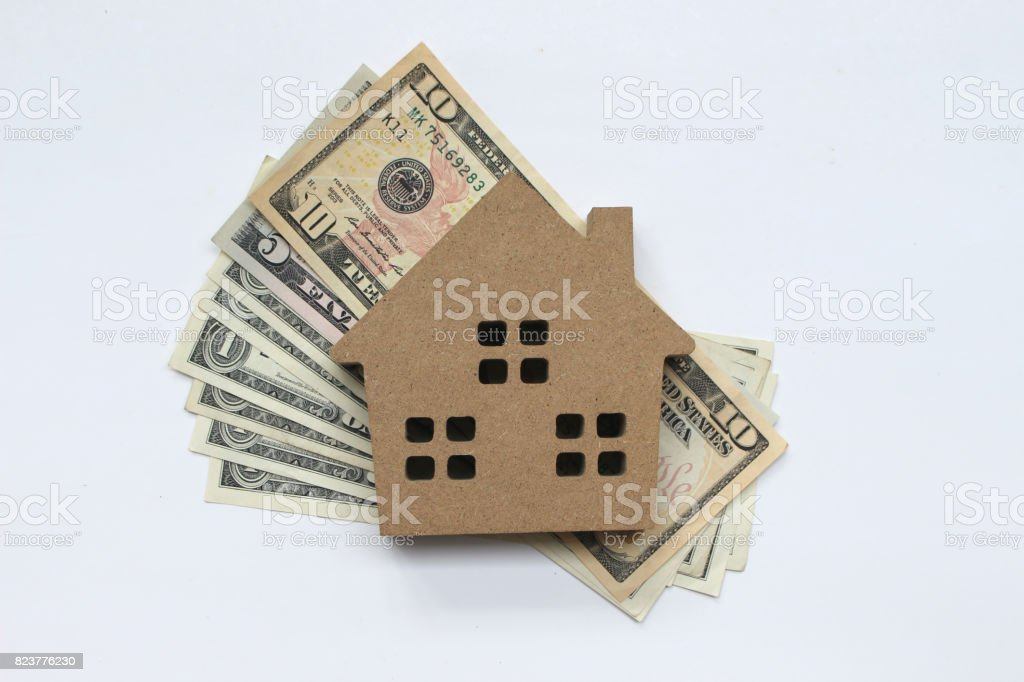 Mortgage loan and Dollar money property for concept with copy space stock photo