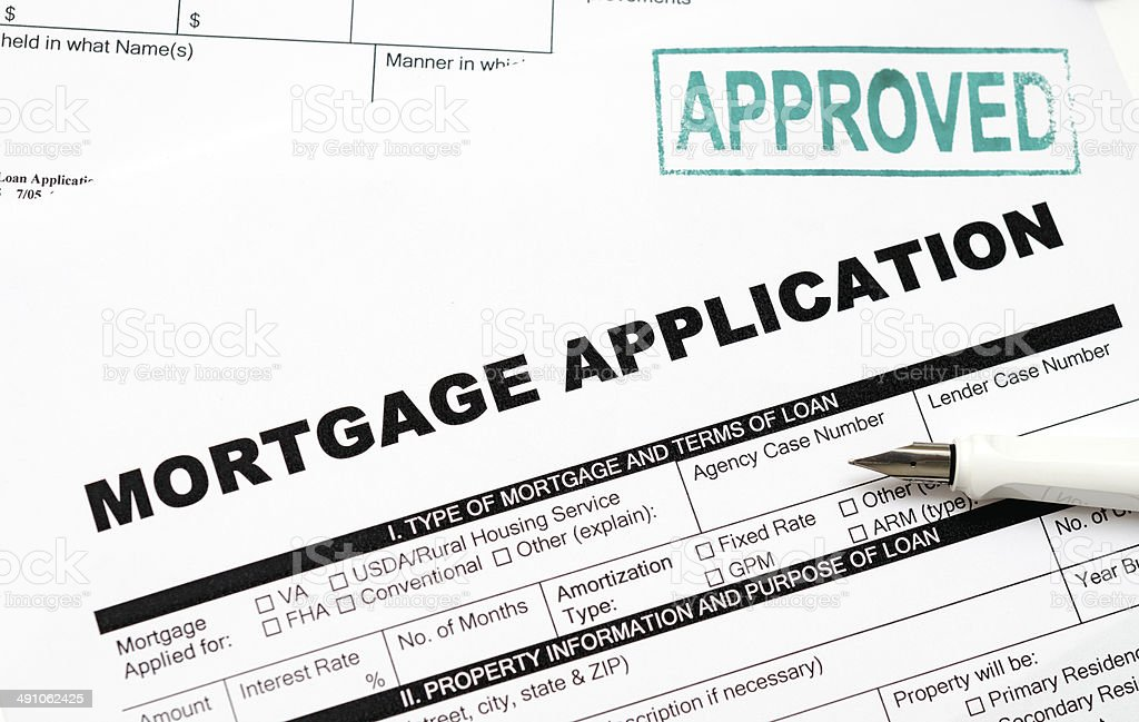 Mortgage loan application form stock photo