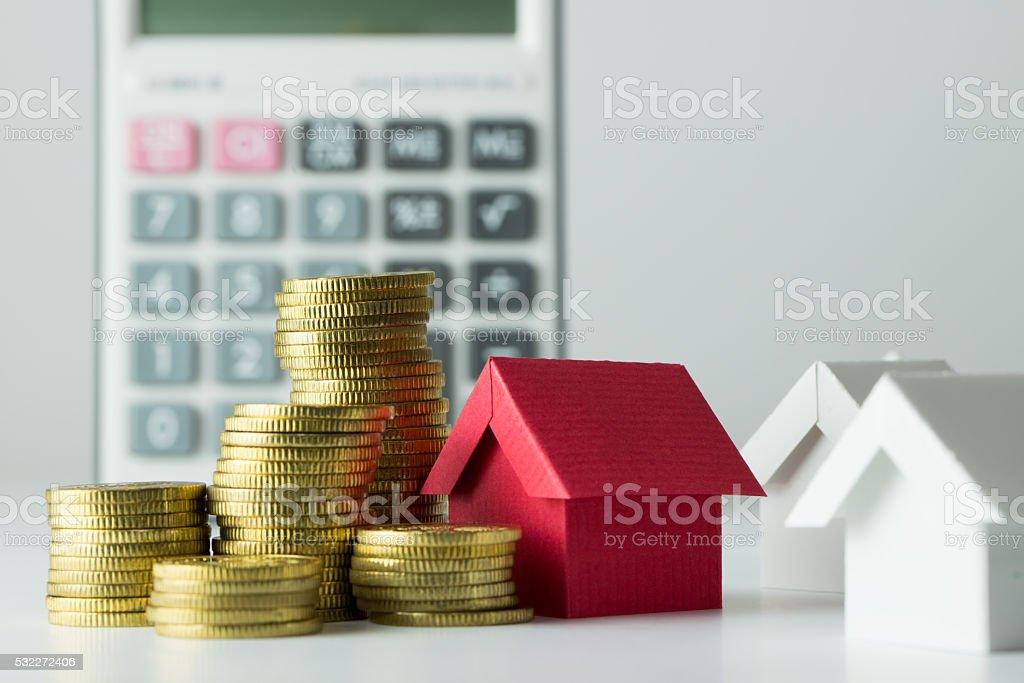 Mortgage loan calculator stock photo