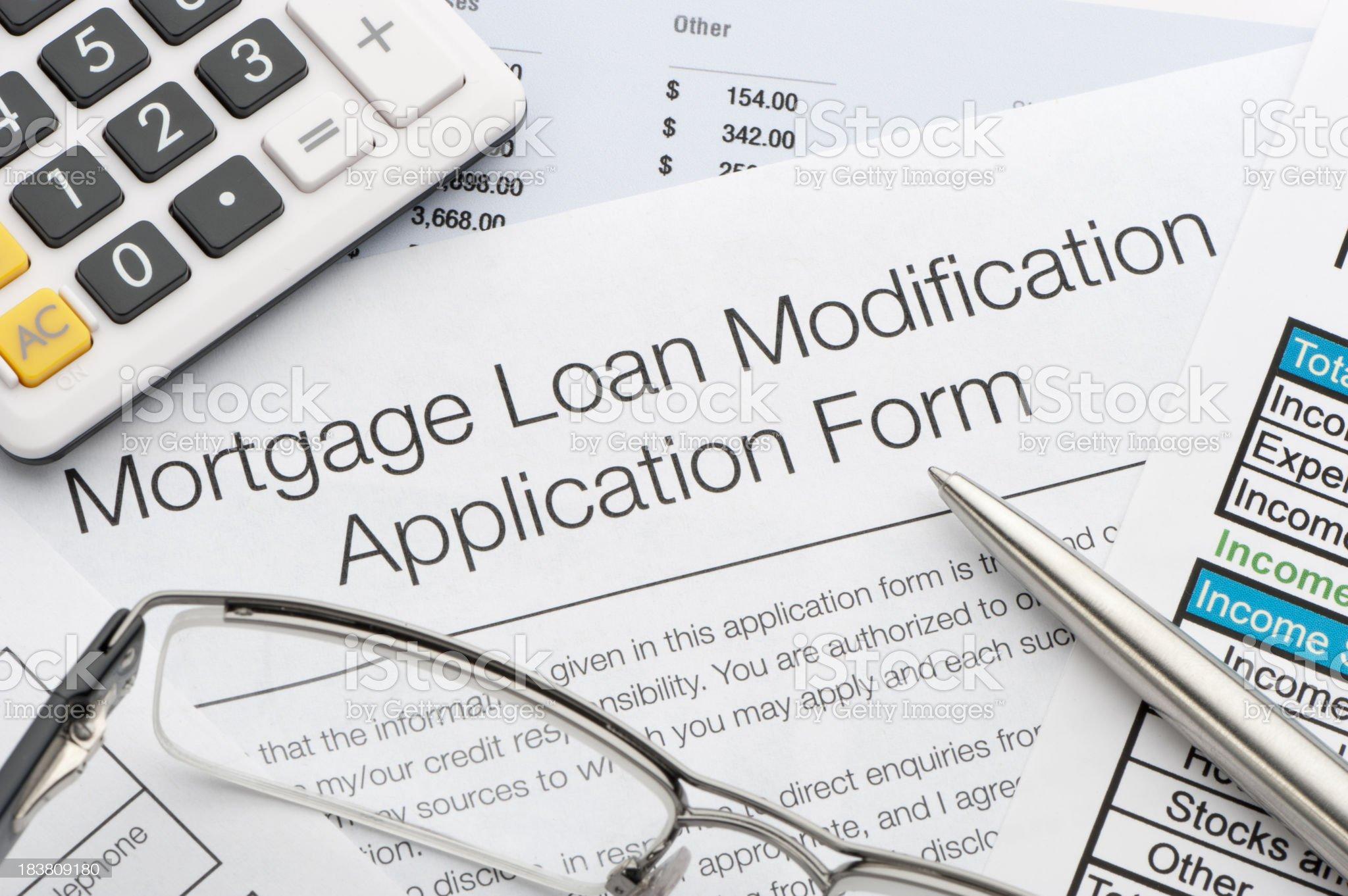 Mortgage loan modification application royalty-free stock photo