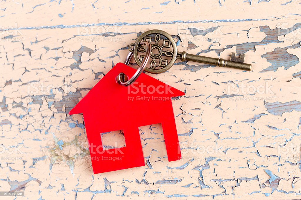 Mortgage Loan Real Estate Concept with House Shaped Keyring stock photo