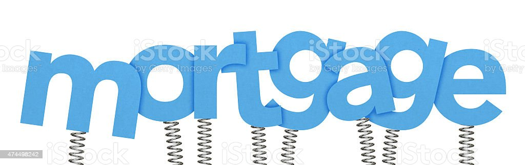 Mortgage made from letters on springs stock photo