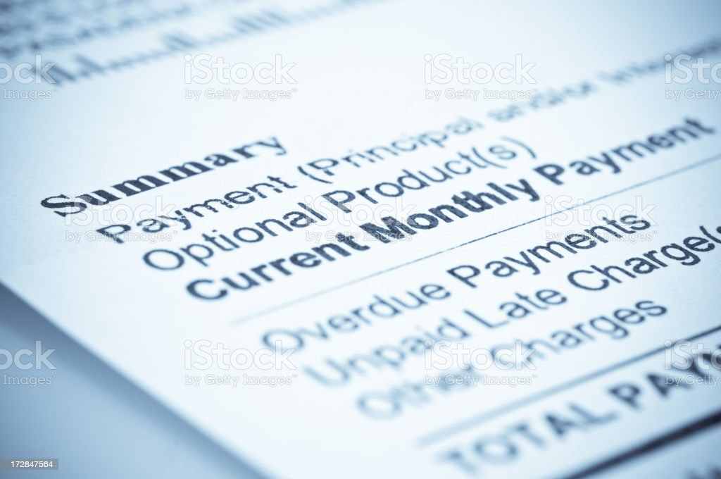 Mortgage statement with list of payments and charges royalty-free stock photo