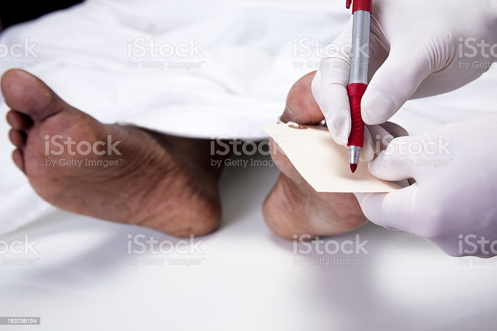 Mortician, coroner writing toe tag foot in morgue. Dead body. stock photo