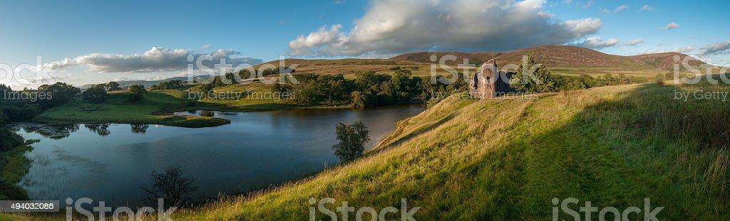 Morton Loch and castle, Dumfries & Galloway, Scotland, UK stock photo