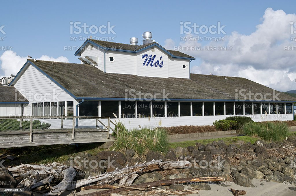 Mo's Restaurants on beach Lincoln City Oregon Famous Clam Chowder royalty-free stock photo