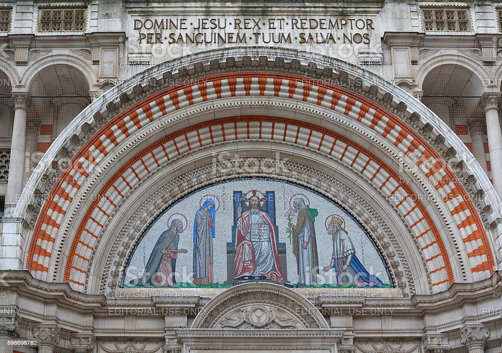 Mosaic above the entrance to Westminster Cathedral in London stock photo