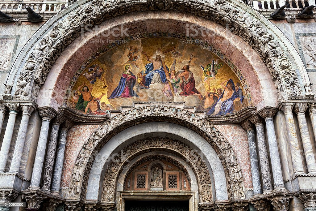 Mosaic above the main entrance of St Mark's Cathedral stock photo