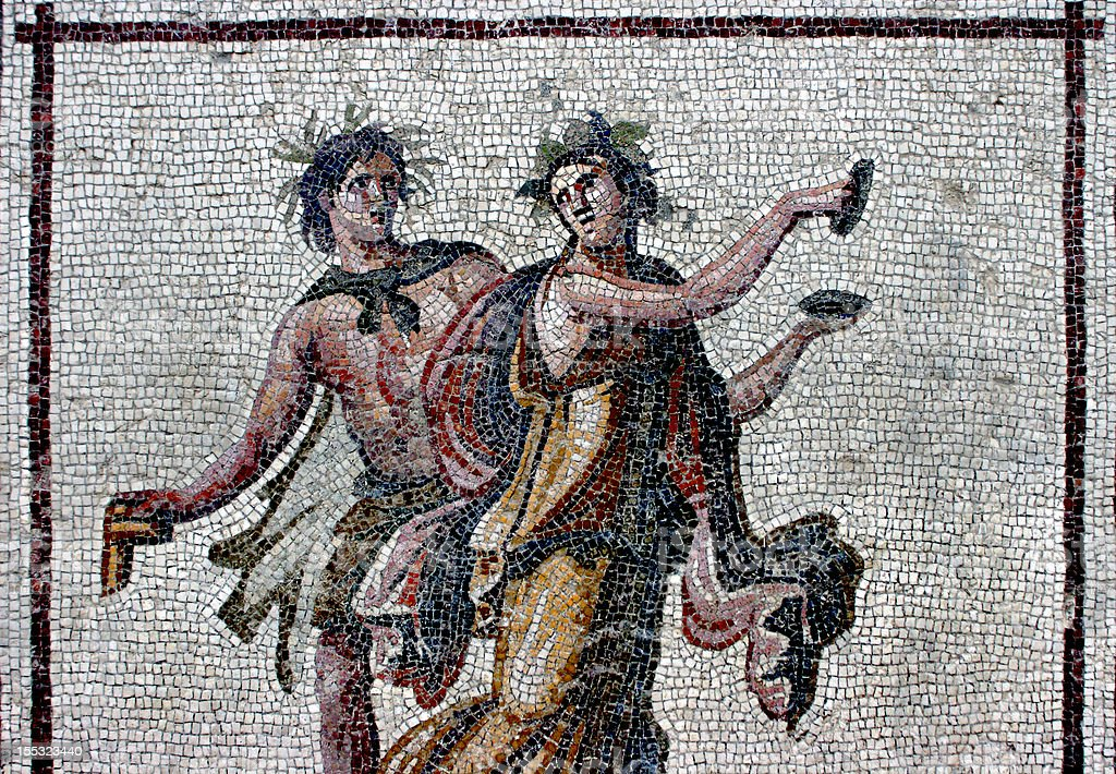 Mosaic Bacchic Dancers stock photo