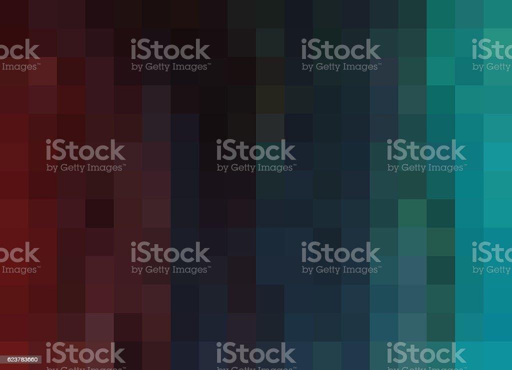 Mosaic Background, pixels background, burgundy/blue/teal gradient stock photo