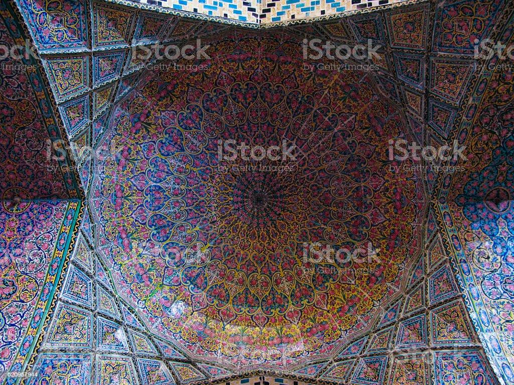 Mosaic ceiling of Nasir ol Molk Mosque in Shiraz Iran stock photo