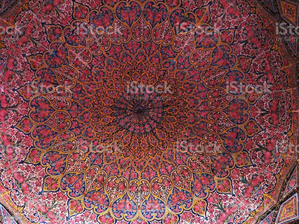 Mosaic ceiling of Nasir ol Molk Mosque, Shiraz, Iran stock photo