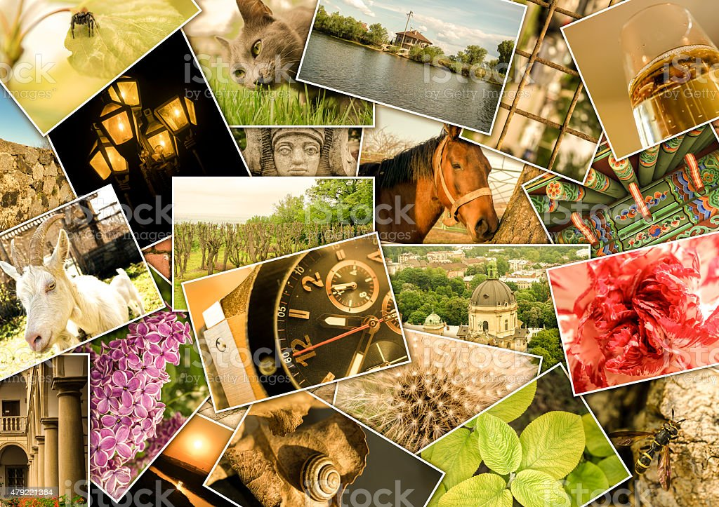 Mosaic collage with pictures of different places, landscapes, flowers stock photo
