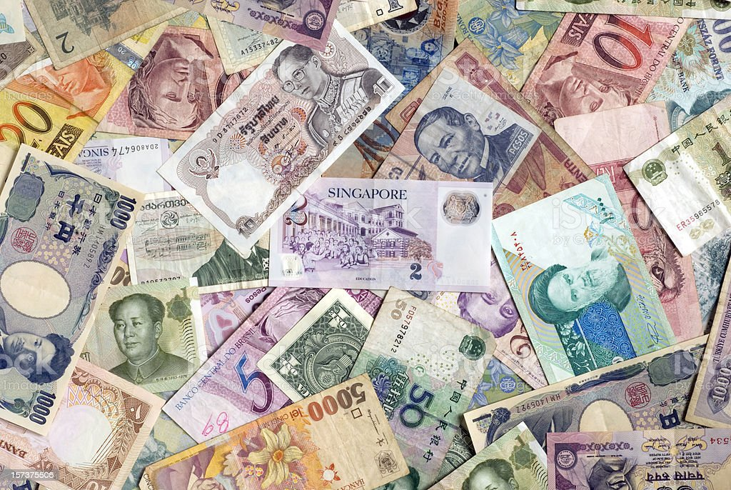 Mosaic collection of world currencies royalty-free stock photo
