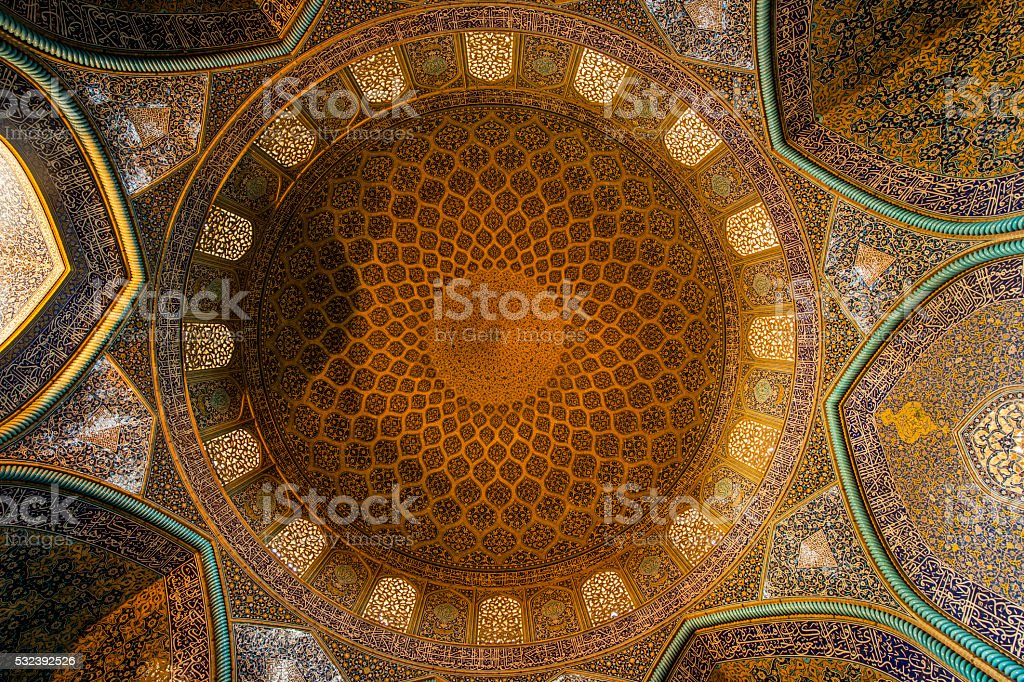 Mosaic decoration in the dome of Sheikh Lotfollah Mosque, Isfahan stock photo