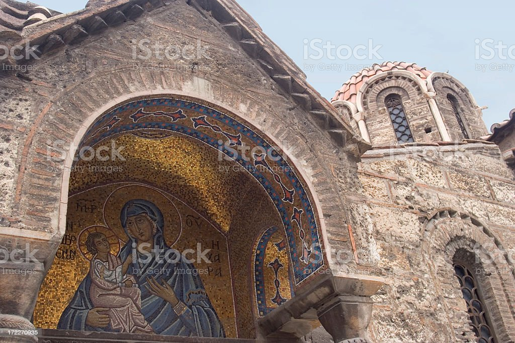 Mosaic entrance to Greek church royalty-free stock photo