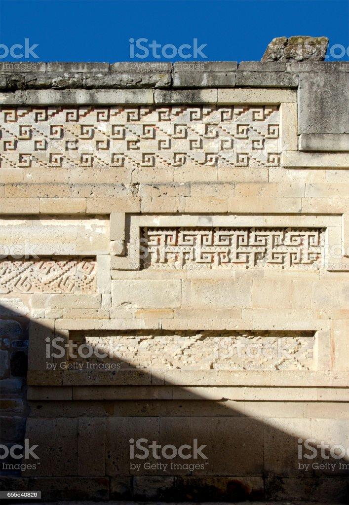 mosaic fretwork, Mitla archeological site, Oaxaca, Mexico stock photo