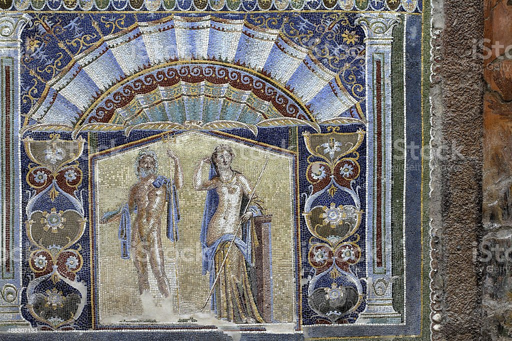 Mosaic from Casa di Nettuno e Anfitrite at Herculaneum Italy stock photo