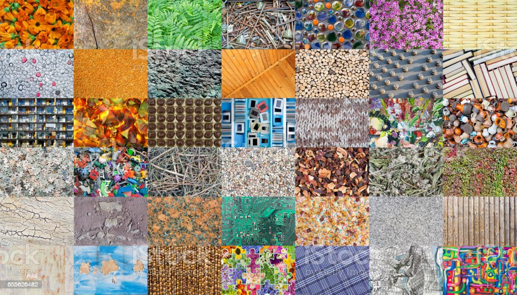 Mosaic from  diverse natural and handmade textures. All full size images you can find in my porfolio stock photo