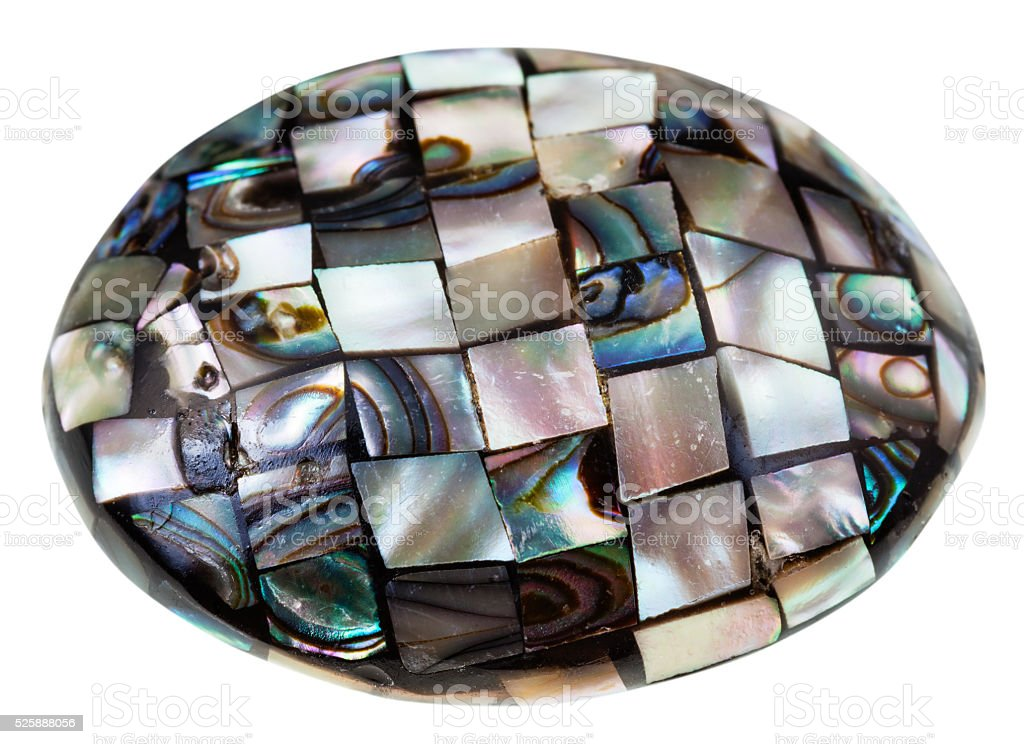 mosaic from polished pieces of nacre mollusk shell stock photo