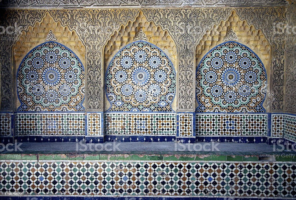 mosaic in kasbah stock photo