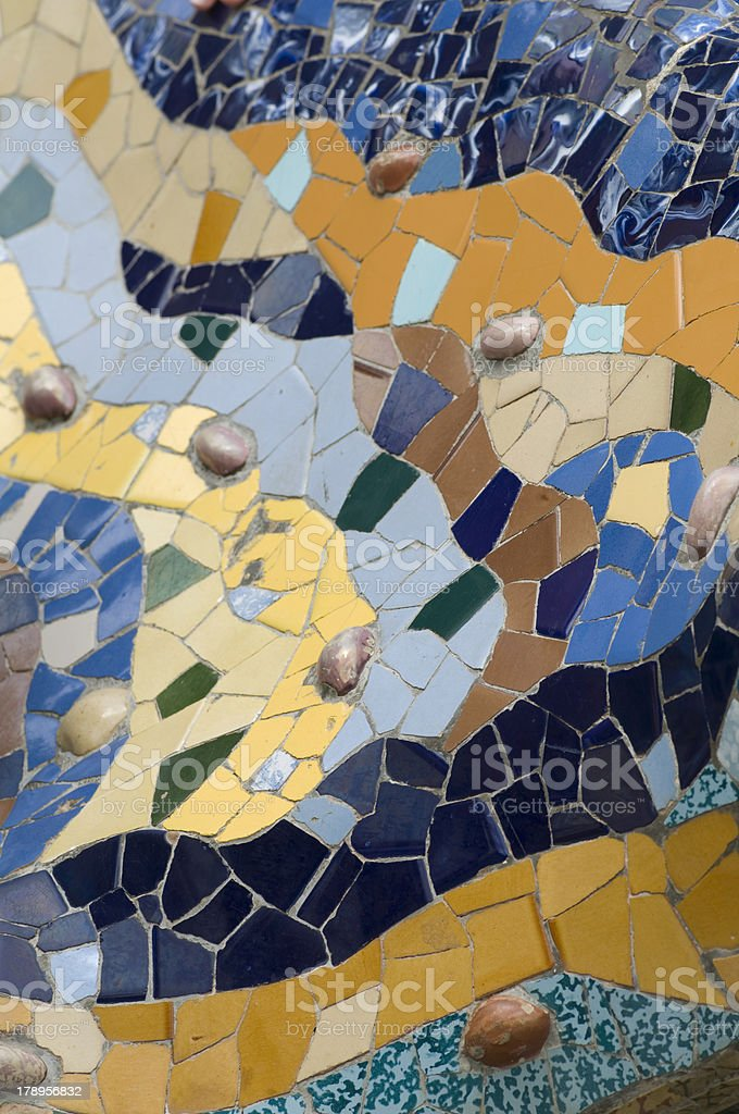 mosaic in Parc Guell royalty-free stock photo