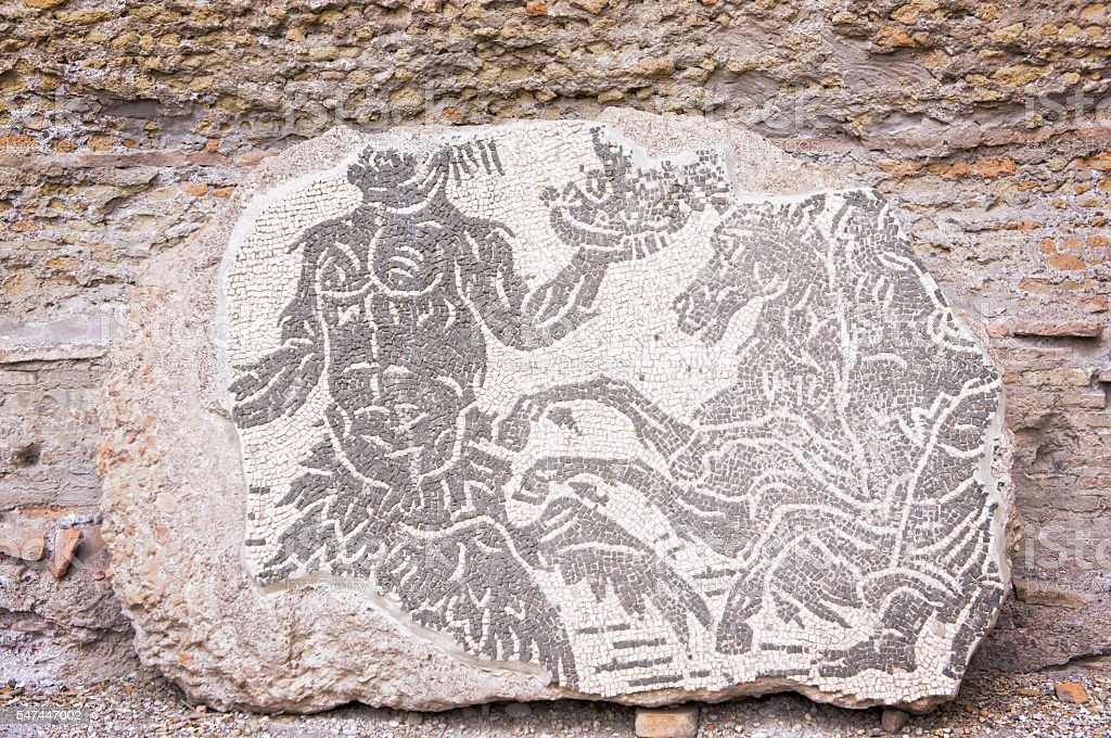 Mosaic in Roman Baths of Caracalla - Rome Italy stock photo