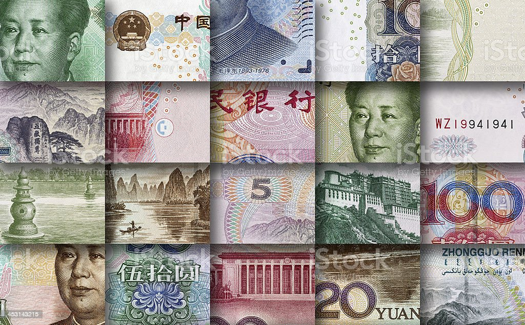 mosaic made by pieces of Chinese banknotes stock photo