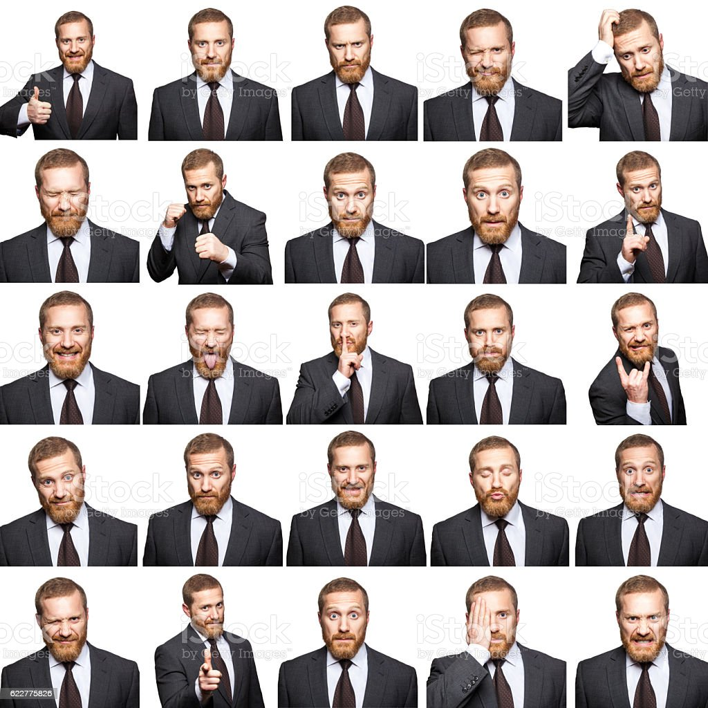 Mosaic of businessman expressing different emotions. stock photo