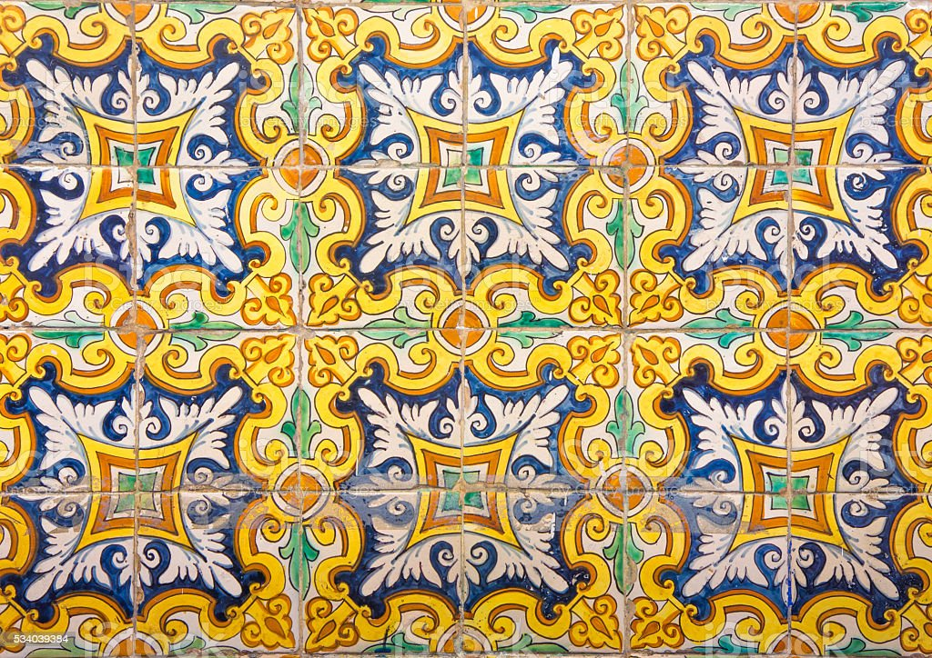 Mosaic of colorful ceramic tiles with floral style stock photo