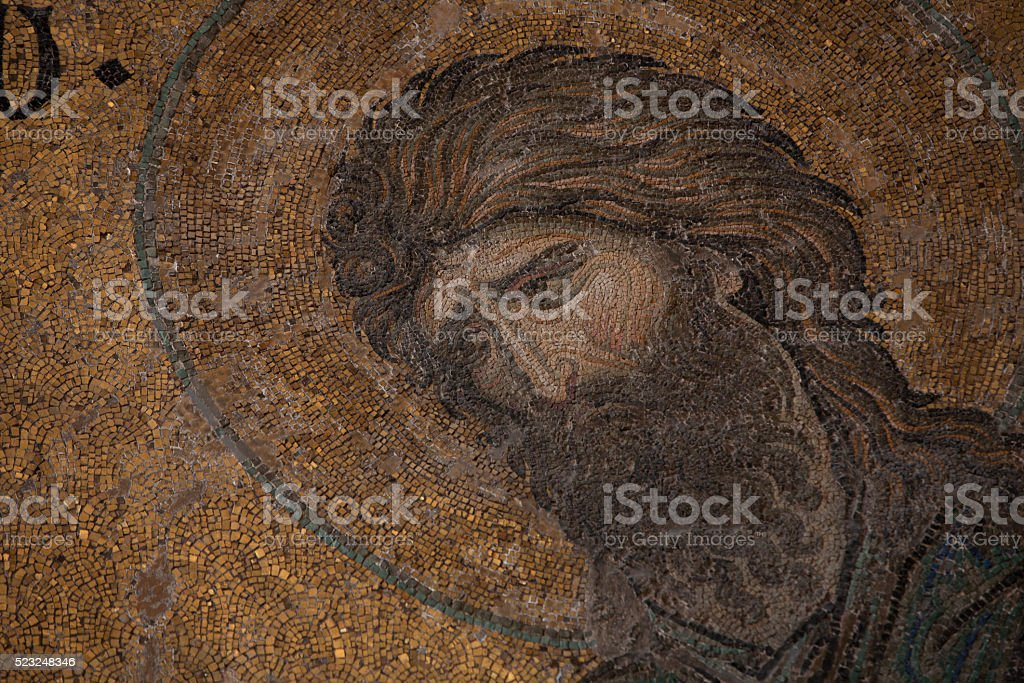 Mosaic of John the Baptist (Ioannes Prodromos) in Hagia Sophia stock photo