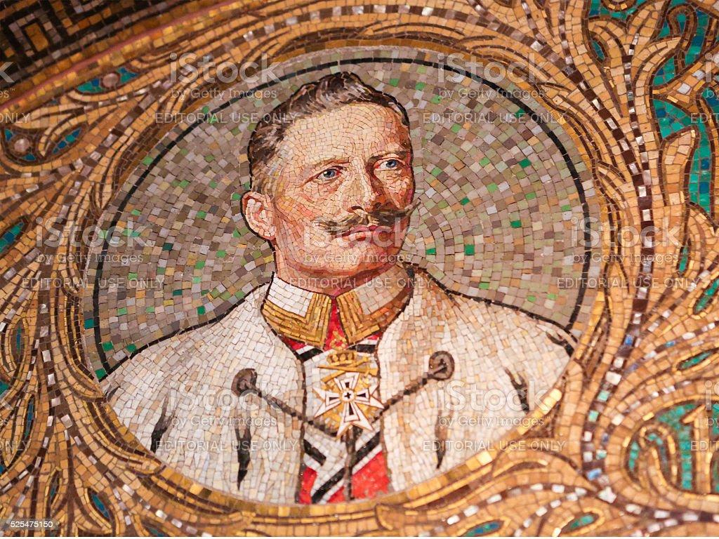 Mosaic of Kaiser Wilhelm II stock photo
