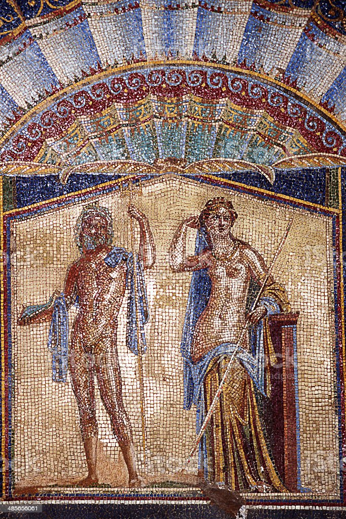 mosaic of Neptune and Amphitrite in Ercolano stock photo