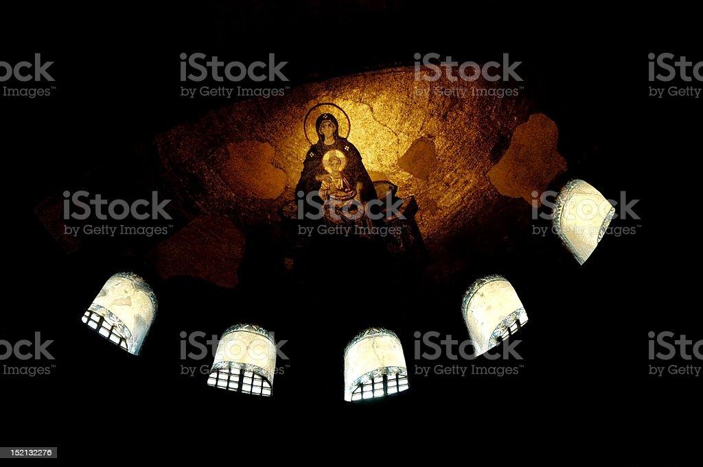 Mosaic of Virgin Maria, Hagia Sophia church, Istanbul, Turkey royalty-free stock photo