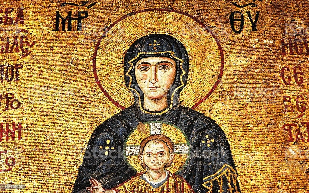 Mosaic of Virgin Mary and Infant Jesus stock photo