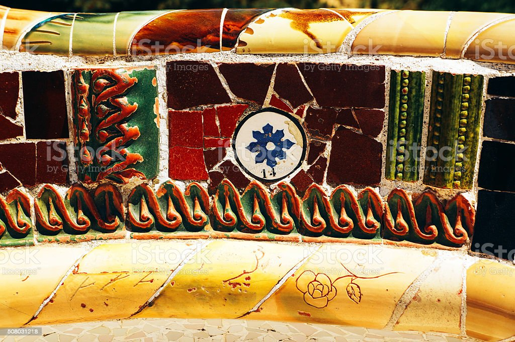 Mosaic on a bench in Park Guell. Gaudi. Barcelona. Spain stock photo