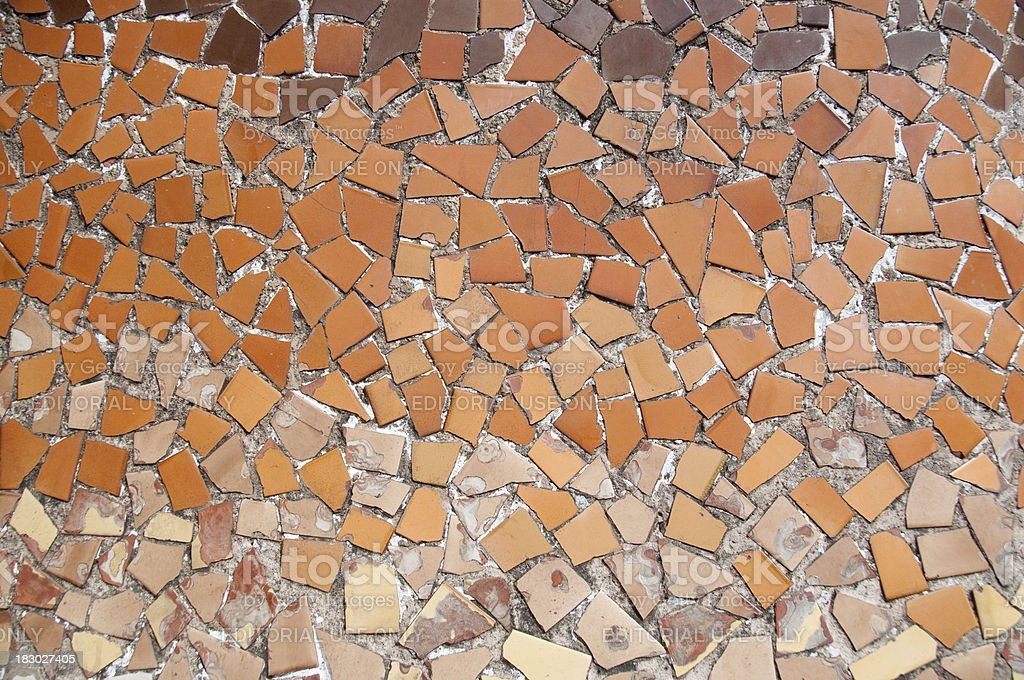 Mosaic on Gaudi's Casa Batlló (Barcelona Spain) royalty-free stock photo