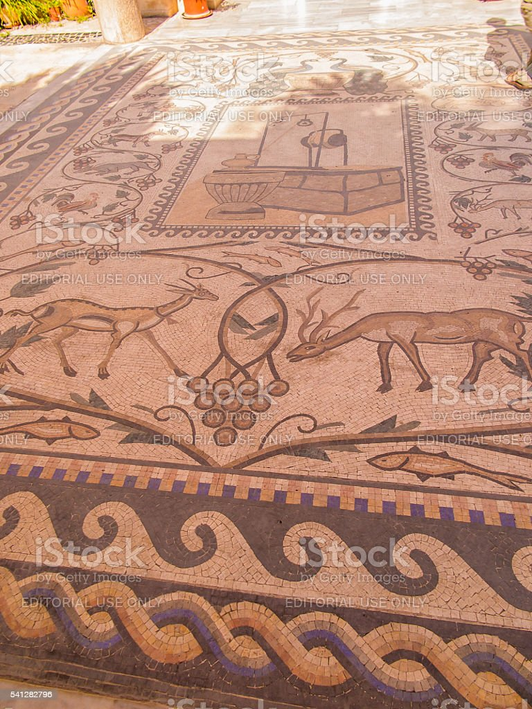 Mosaic on the floor in Sychar, Nablus stock photo