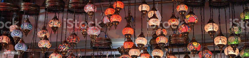 Mosaic Ottoman lamps from Grand Bazaar stock photo