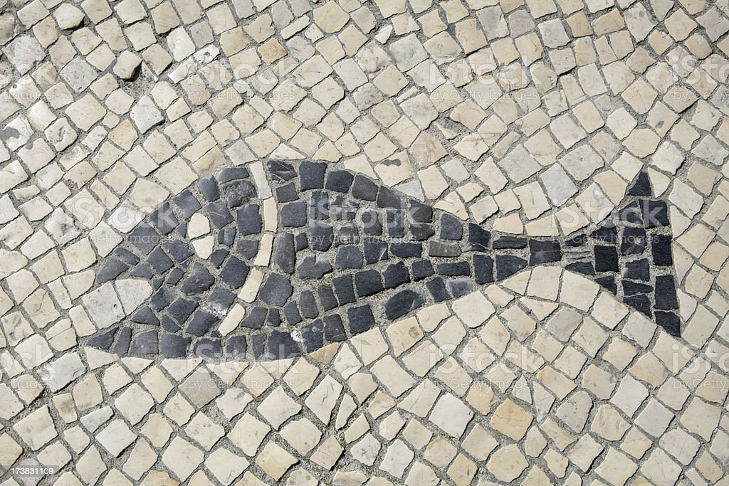 Mosaic pavement with sign of fish royalty-free stock photo