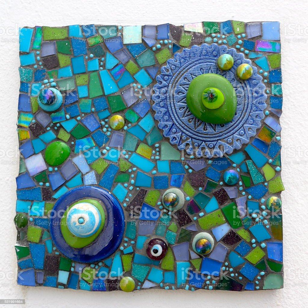 Mosaico de imagen de Cristal y cerámica roto azulejos foto de stock libre de derechos