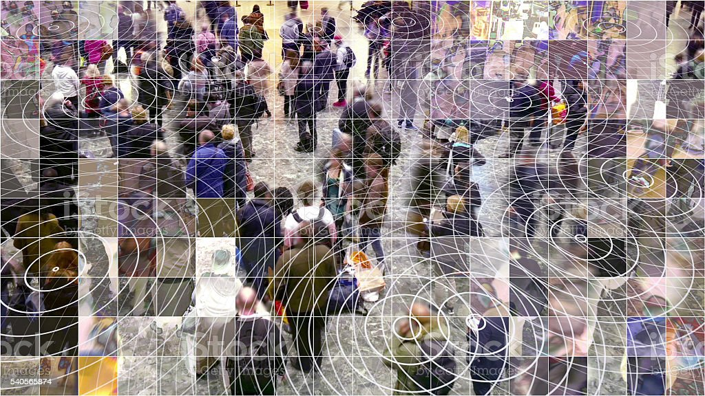 Mosaic pixelated waiting people with radio waves. stock photo