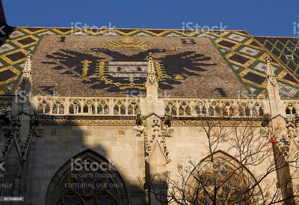 mosaic roof of St. Stephen's Cathedral in Vienna stock photo