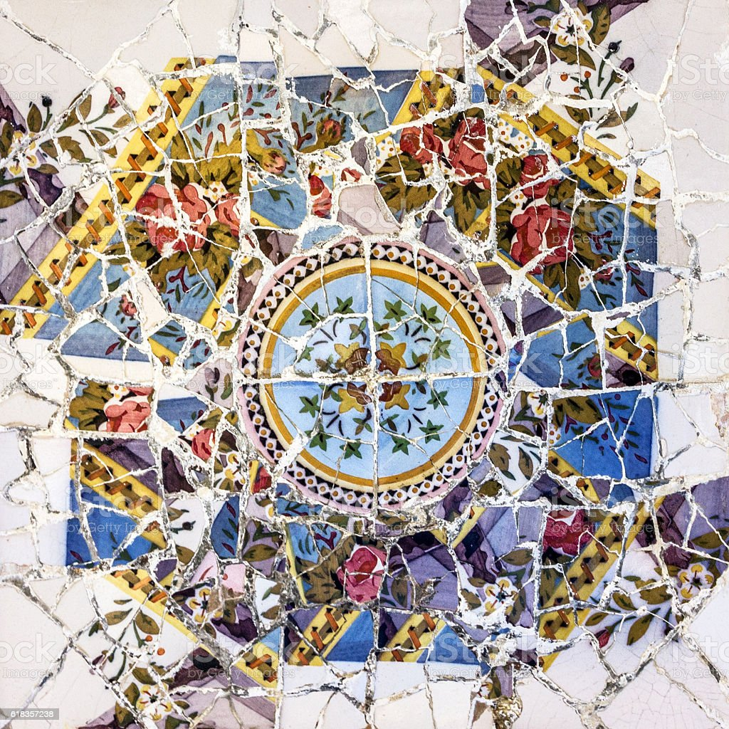 Mosaic tile decoration, broken glass in Park Guell, Barcelona, Spain stock photo