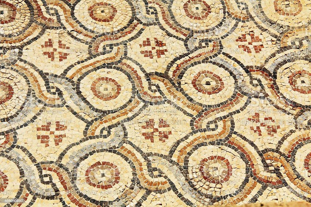 Mosaic Tile Floor in Caesarea Maritima National Park stock photo