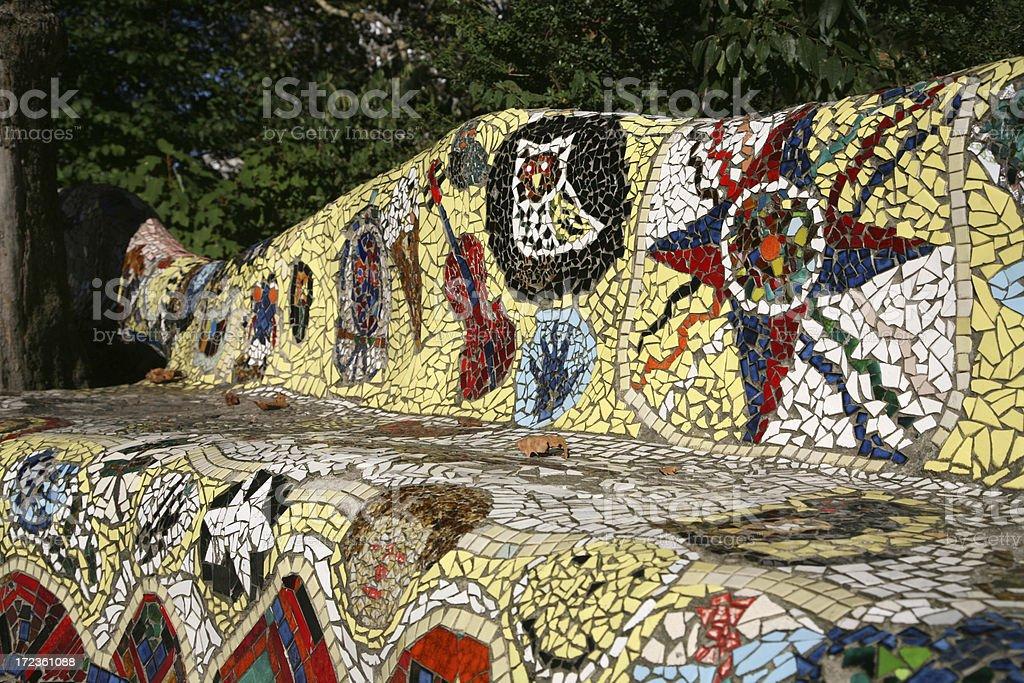 Mosaic Tiled Bench stock photo