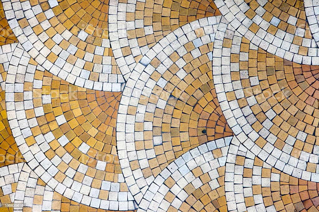 Mosaic tiles in old house stock photo